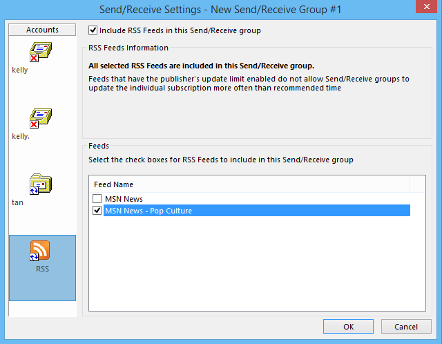 How to set and change the update interval of RSS Feeds in Outlook?