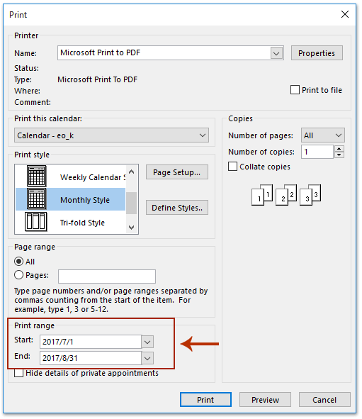 How to save Outlook calendar as PDF file?