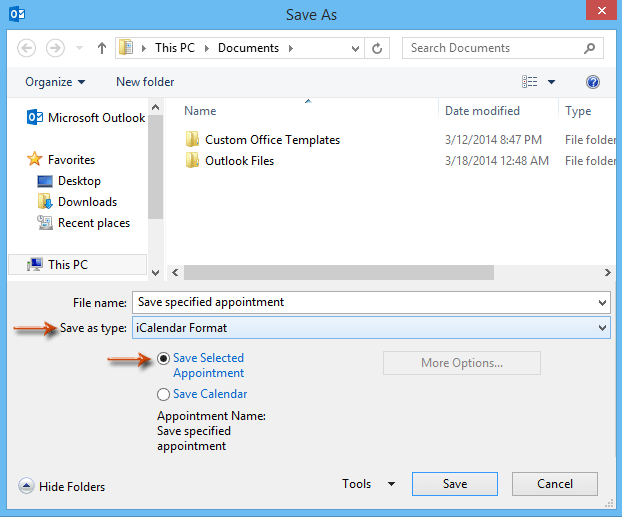 How to save a selected appointment as ics file in Outlook?