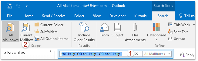 How to search emails by recipients' names in Outlook?