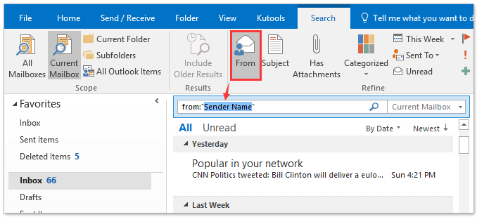 How to search external emails (not from internal domain) in