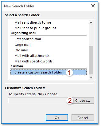How to create a search folder excluding folders (Delete