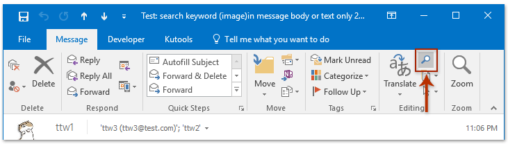 How to search in email messages body/text in Outlook?