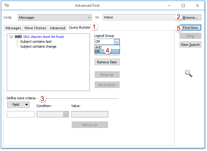 How to search with multiple keywords in Outlook?