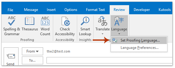 How to set default proofing/spelling language in Outlook?
