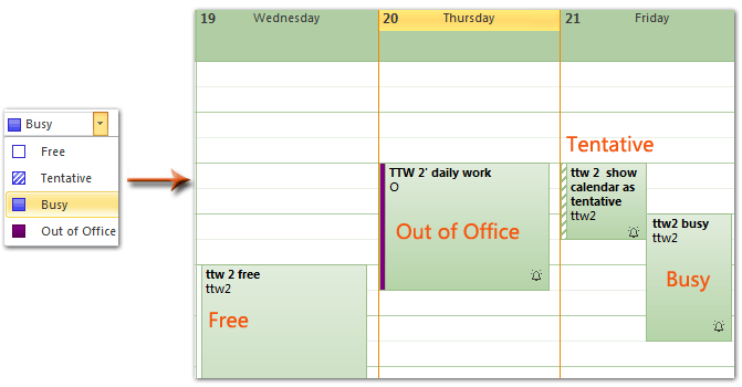 Outlook: Show calendar as busy, free, tentative, and out of
