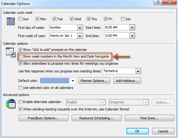 How to show the week numbers in Calendar in Outlook?