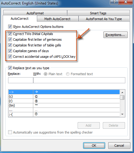 How to turn on/off auto capitalization in Outlook?
