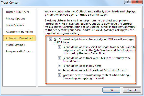 How to download pictures manually or automatically in Outlook?