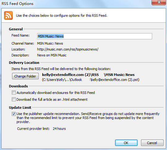 How to add and remove RSS Feeds in Outlook?