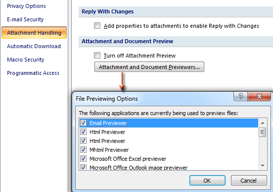 Outlook: Disable and enable previewing attachments in