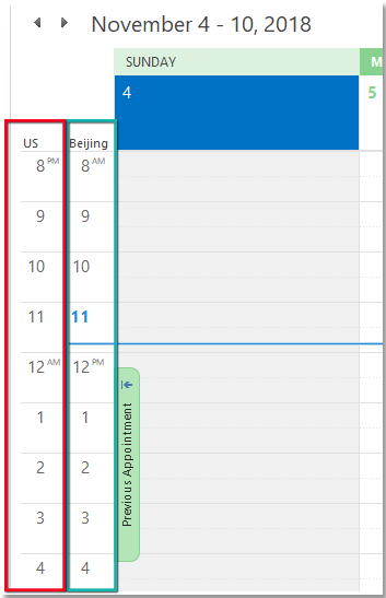 doc two time zone in calendar 4