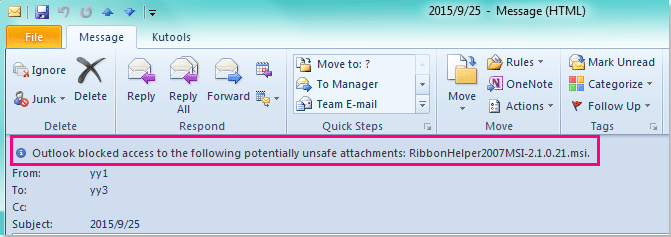 How to quickly unblock unsafe attachment types in Outlook?
