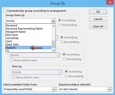 How to view or group email messages by subjects in Outlook?