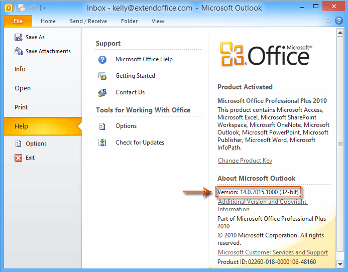What outlook version do i have on my computer