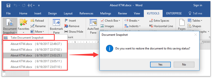 ad take snapshot of document for restoring