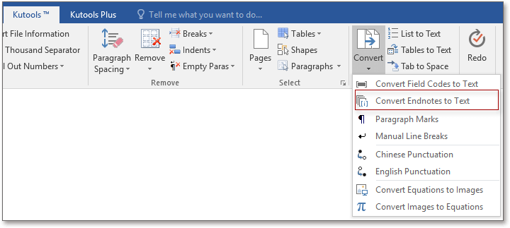 doc kutools convert endnotes to text 1