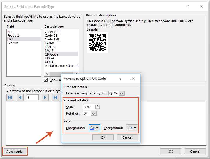 How to create QR code in Word document?