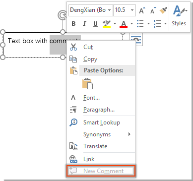How to add comment to text within a text box in Word document?