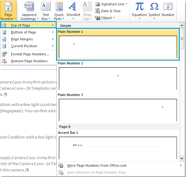 How to add different formats page numbers to certain pages in Word?