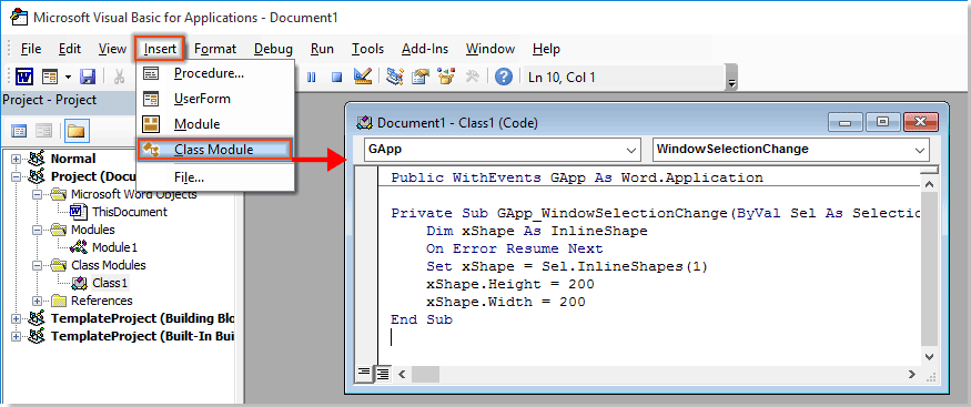 how to click to enlarge or expand image in word document?click insert \u003e module, copy below code into the module window