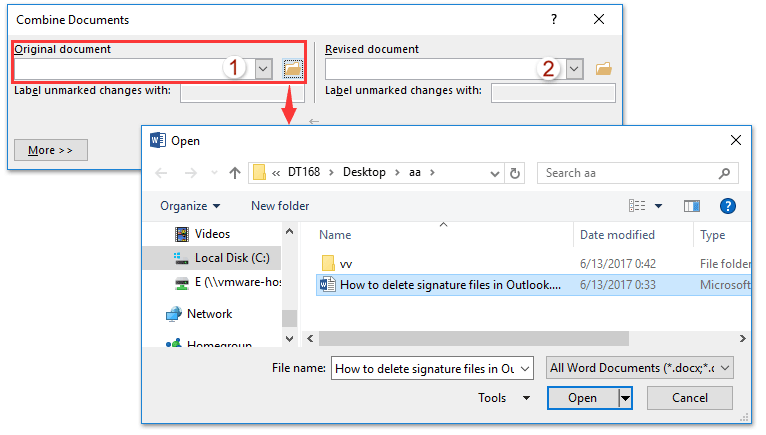 merge word documents into one 2016