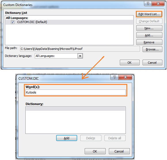 How to add new words to spell check dictionary in Word?