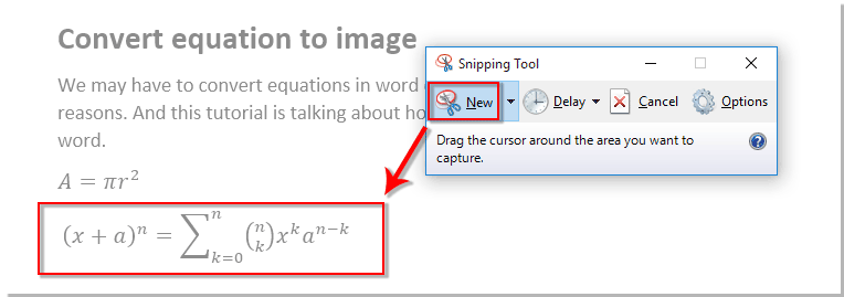 add snipping tool to word
