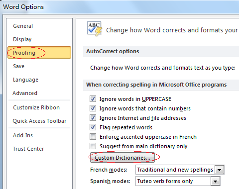How to export and import multiple custom dictionaries in word?