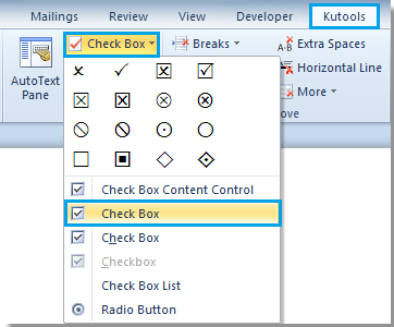 How to insert ActiveX control check box in Word?