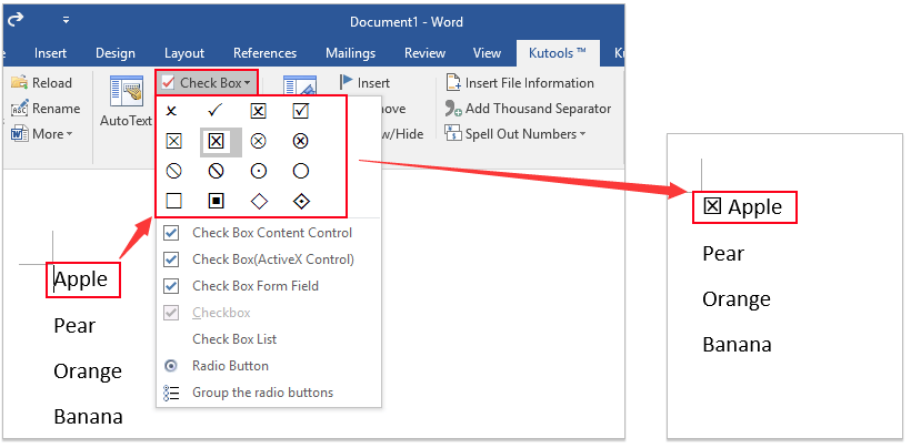 How to quickly insert checkbox symbol into Word document?