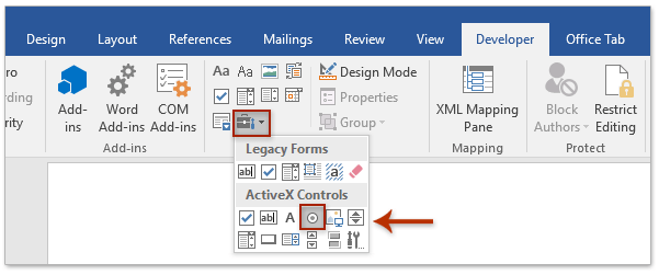 How to insert radio button in Microsoft Word document?