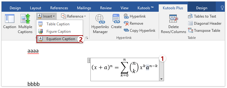 Easily insert a right aligned caption next to an equation in