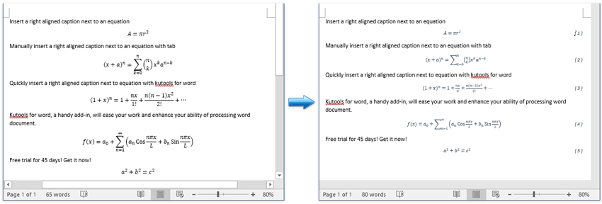 Easily insert a right aligned caption next to an equation in word