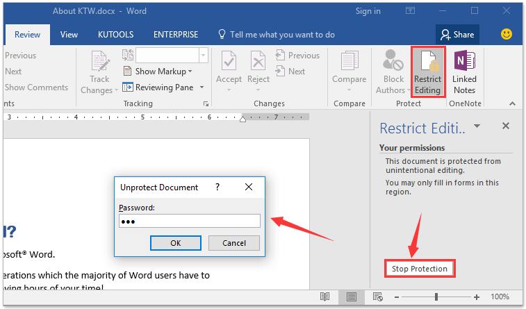 word unprotect document 2013