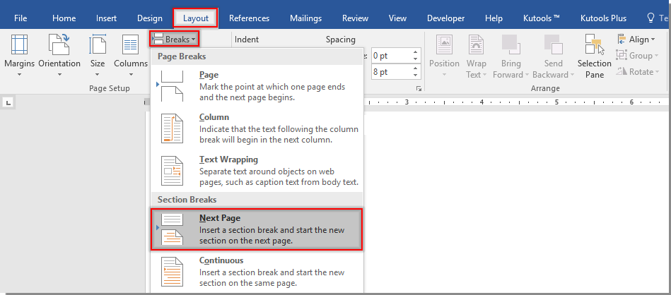 how to create multiple headers or footers in a word document