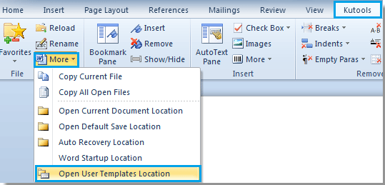 location of word templates