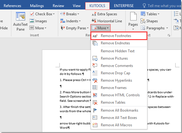 How to remove all footnotes quickly in Word?
