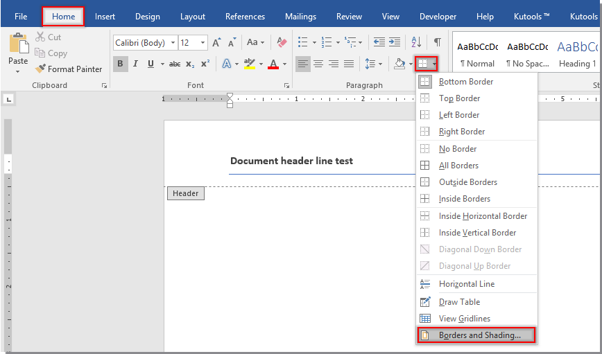 How to remove header line in Word document?