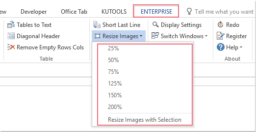 How to resize all / multiple images in Word?