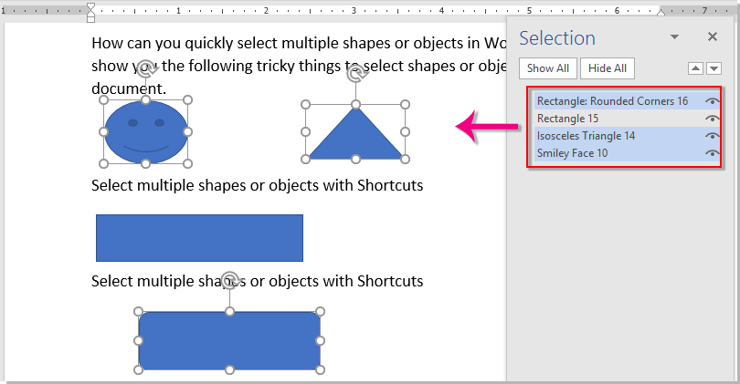 How to select multiple shapes or objects in word?