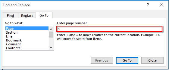 How to select specific pages from the whole document in Word
