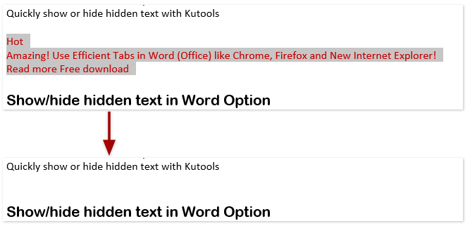 How to show or hide all hidden text quickly in Word?