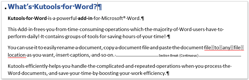 How to show or hide paragraph marks in Word?