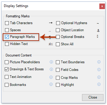 show formatting marks in word mac 2011