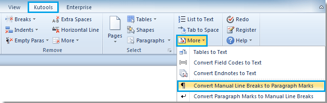 How to insert a linebreak in microsoft word 2007