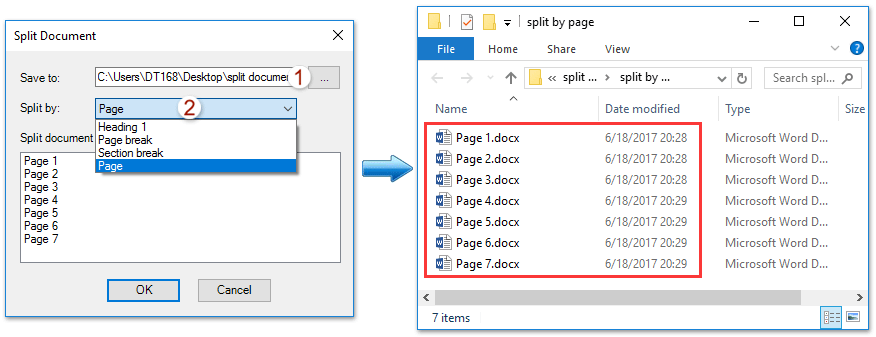 How to split document into multiple documents in word?