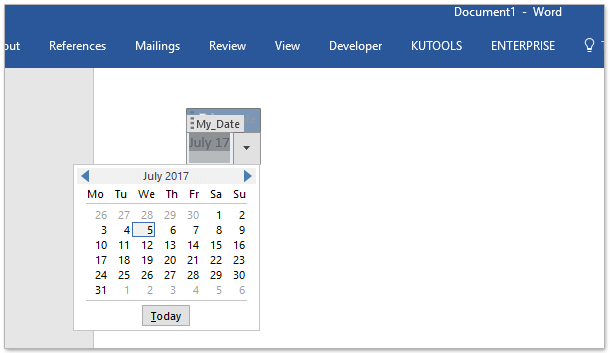 How to insert date picker showing current date by default in