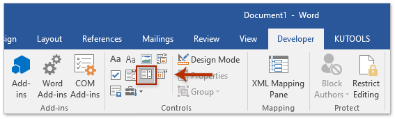 How to insert a drop down list in Word?