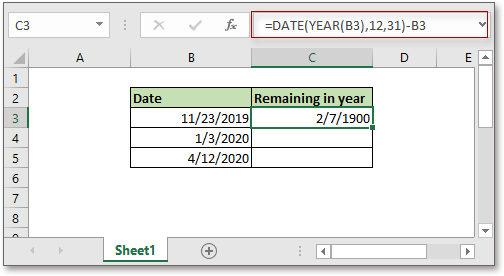 doc remaining days in year 2